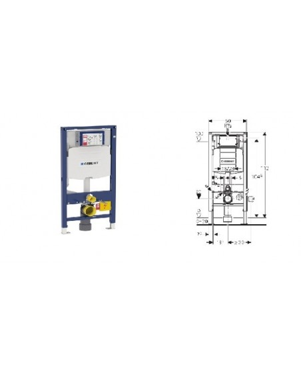 Bastidor autoportante Doufix de Geberit con cisterna empotrada Sigma 12 cm, altura 112 cm.